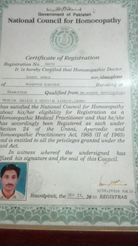 certificate of registration Dr. Sabeel