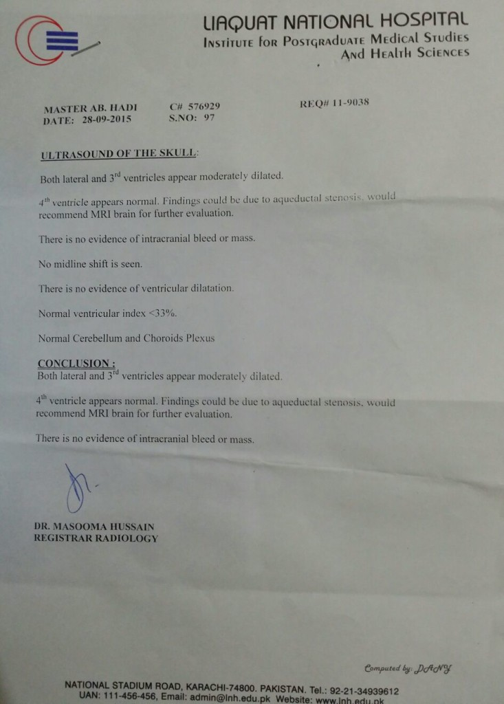 Normal Report of Hydrocephalus Baby Abdul Hadi